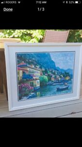 Framed and matted print of Greece