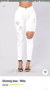 Fashion nova glistening white jeans
