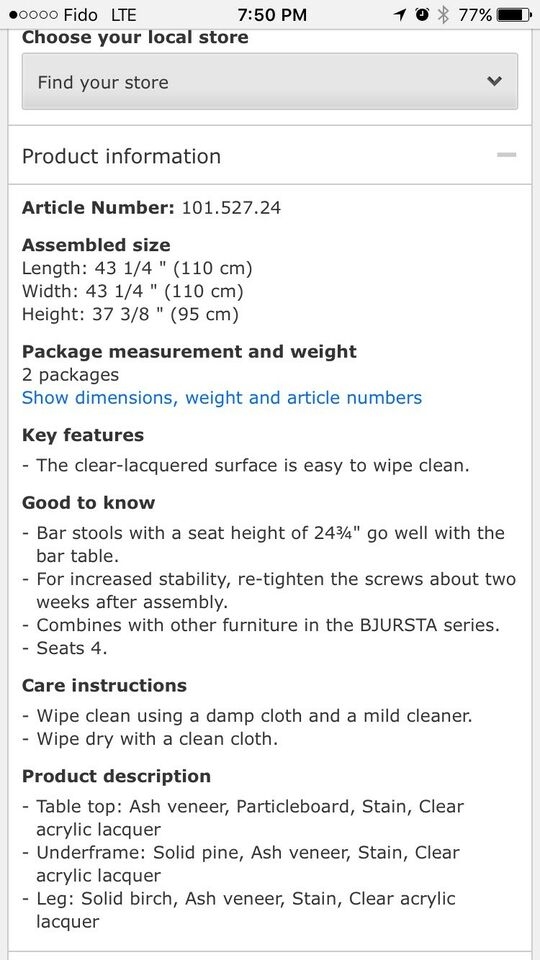 Listing item