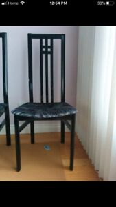 4 dinning room chairs - black lacquer finish