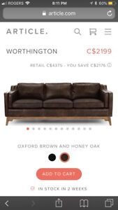Oxford worthington leather couch