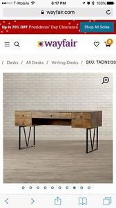Wood and steel desk. Industrial.  Used one year