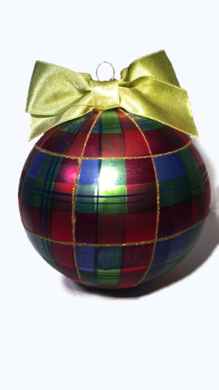MacKenzie-Childs Small Tartan Ball Glass Ornament