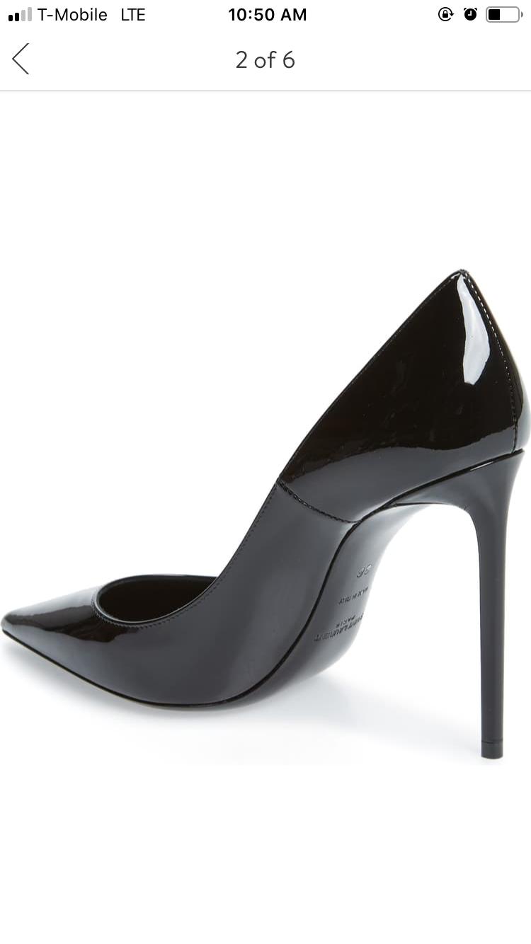 Ysl Saint Laurent Zoe Pointy Toe Pumps Black Patent Leather Stiletto Shoes 39