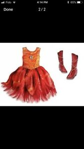 Disney Fairy Costume Dress, Boots & Wings, Size 5