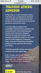 2 x 4 day pass to Clipsal 500 Adelaide Mawson Lakes Salisbury Area Preview