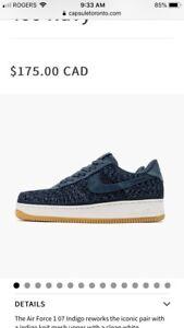 Nike Air Force 1 07 indigo 917825-400 running shoe men's Sz 11