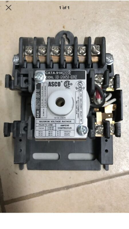 ASCO 6 Pole 20 Amp Contactor 91862031 110-120volts NEW*  918 For Branch Circuits