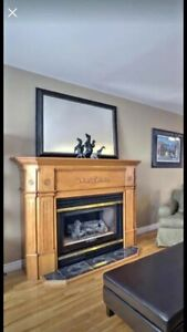 Birch fireplace mantle