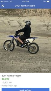01 yamha yz 250 for sale