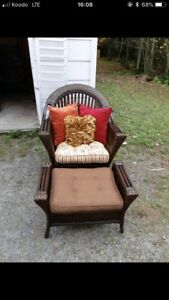 Wicker Chairs and footstools with cushions