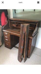 Victorian antique roll top desk