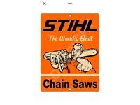 STIHL Chainsaw Sign Garage Workshop PVC Banner Display Orange