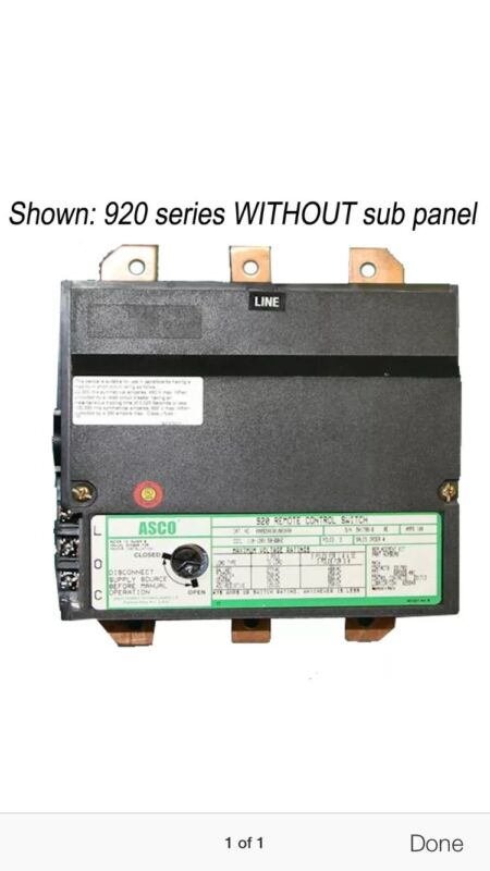 ASCO 920 3 pole Lighting Contactor 30 amp 110-120volt coil No Subpanel Open Type