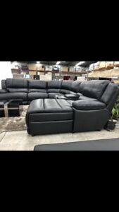 Leather lounge corner recliner and chaise