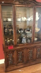 Beautiful china cabinet and hutch display lights up