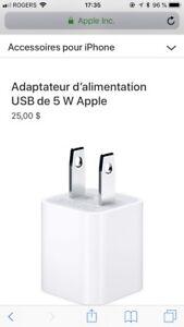 Adaptateur d'alimentation USB de 5 W Apple neuf