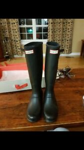 Black Hunter Boots in box size 10