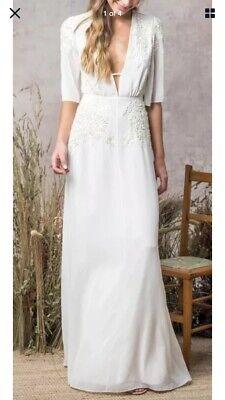 Hope & Ivy White Bridal Beaded Maxi Dress With Plunge Neck Line Size 10