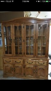 Oak hutch table and chairs