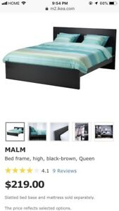 Queen sized bed frame (IKEA, Black-brown MALM)