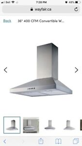 "Winflo 36"" chimney range hood NEW"
