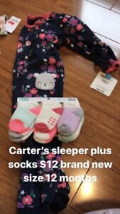 12 month Carter's outfit pjs and socks brand new