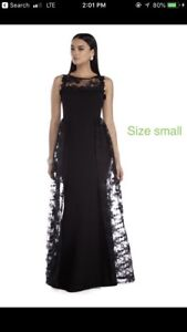 Black evening dress with lace overskirt