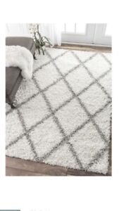 White and grey area rug