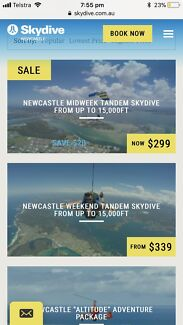 Sky diving voucher Newcastle