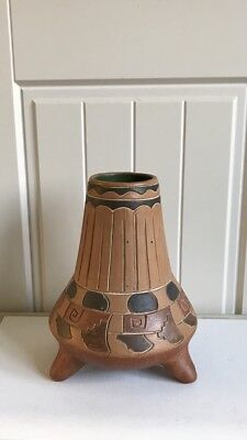 Native Mexican Hand Made Terracotta Vase On 3 Feet