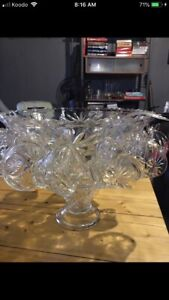 Crystal punch bowl set with 12 cups