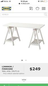 IKEA white trestle desk