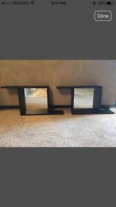 Floating wall shelves with mirrors (wall decor)