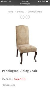 Set of 2 Bombay Company tall back upholstered dining chairs New