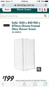 Brand new - Estilo Chrome Framed Shower Screen - Fixed pane only Scarborough Stirling Area Preview