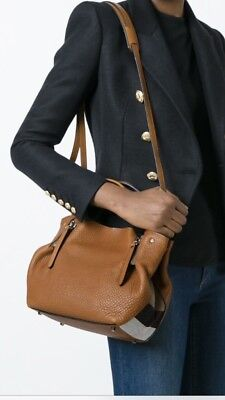 Check Small Tote - New Burberry Brit Leather and Canvas Check Small Maidstone Tote Brown