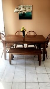 Solid hardwood table with bench and 4 chairs