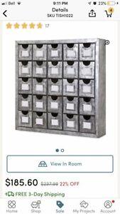Brand New Apothacary style galvanized steel metal storage