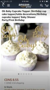 Oh Baby cupcake topper - baby shower
