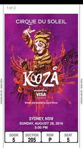 Kooza tickets Cirque du Soleil Sydney x2 Homebush Strathfield Area Preview
