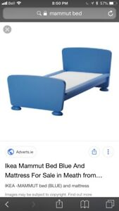 Mammut blue ikea bed, wardrobe and end table