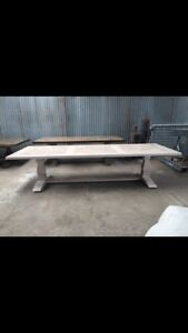 Oak Parquetry French Lime Wash Finish Refectory Table Yarraville Maribyrnong Area Preview