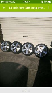 18 inch Ford XR8 mag wheels in good condition with roadworthy tyres