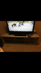 Tv stand silver with 2 glass shelves