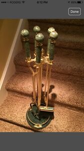 Vintage 5 pc green marble & polished brass fireplace tool set