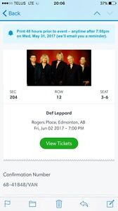 Def Leopard Tickets - Rogers Place Friday June 2/17