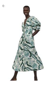 Johanna Ortiz x HM Leaf Print Linen-Blend Dress Size 14/16