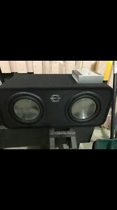 "2-10"" subs, amp and ported box"