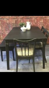 Table and chairs with bench